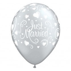 God Balon Latex Just Married And Hearts 28cm 6/set 19136