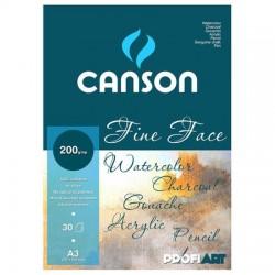 PR BLOC CANSON FINE FACE SPIRA A3 30F 200GR/M2
