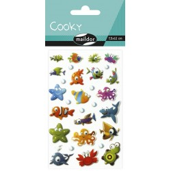 CF STICKER 3D COOKY CLAIREFONTAINE 7.5*12CM 560384C ANIMALE MARINE