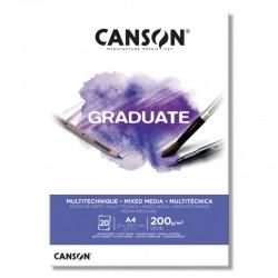 PR BLOC SCHITE A5 CANSON GRADUARTE MIXED MEDIA WHITE, 20FILE, 200GR/M2 400110376