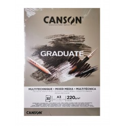 PR BLOC SCHITE A3 CANSON GRADUARTE MIXED MEDIA GREY, 30FILE, 220GR/M2 400110372