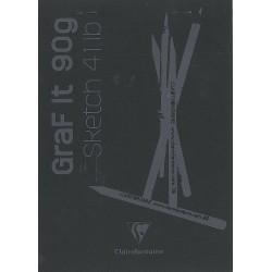 Cf Bloc Desen Grafit A5 80f 90gr Clairefontaine Black 96842c