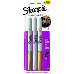 CON MARKER PERMANENT SHARPIE 3/SET METALIC F 1852952