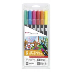 CON SET TOMBOW 6/SET DERMATOLOGICALLY TESTED COLOURS ABT-6P-3