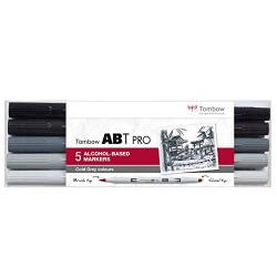 CON SET MARKER TOMBOW 5/SET GREY ABTP-5P-4