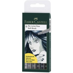 LEC PITT ARTIST FABER-CASTELL 6/SET SOFT BRUSH SHADES OF GREY FC167806