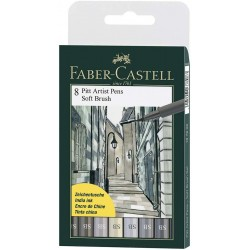 LEC PITT ARTIST PEN FABER-CASTELL 8/SET SHADE OF GREY FC167808