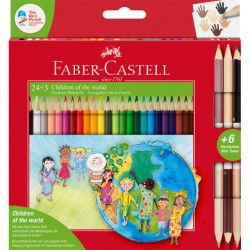 LEC CREIOANE COLORATE FABER-CASTELL 24+3 /SET CHILDREN OF THE WORLD FC201745