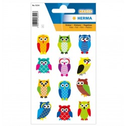 TOR STICKERE DECOR Stickers owls, foil glittery HERMA 3224 BUFNITE
