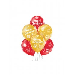 God Baloane Premium Balloons, 30cm, Merry Christmas, Metallic 6/set Brn_5000390