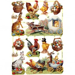 CC STICKER VINTAGE Vintage Die-cuts, Easter, 16,5x23,5 cm, 3 Sheet, 1 Pack 19322