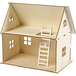 CC KIT CONSTRUCTIE LEMN CASUTA, DOLL HOUSE CONSTRUCTION H:25 CM 57879