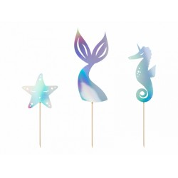PD DECORATIUNI PENTRU TORT Mermaid, iridescent, 24.5cm 3/set KPT47-017