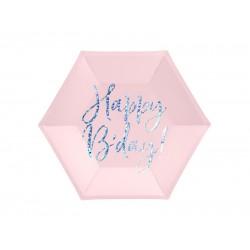 Pd Farfurii Carton Happy B'day!, Light Powder Pink, 20cm 6/set Tpp63-081pj