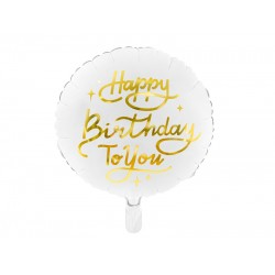 PD BALON FOLIE ALUMINIU Happy Birthday, 35cm, alb FB58