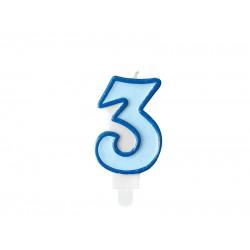 Pd Lumanari Tort Number 3, Blue, 7cm Scu1-3-001