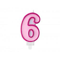 Pd Lumanari Tort Number 6, Pink, 7cm Scu1-6-006
