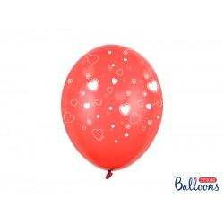 Pd Baloane Balloons 30 Cm, Hearts, Crystal Poppy Red With White, 6/set Sb14c-099-007j-6