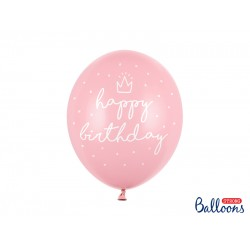 Pd Baloane Strong Balloons 30cm, Happy Birthday, Pastel Baby Pink 6/set Sb14p-244-081j-6