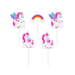 God Lumanari Tort Unicorn, Rainbow, 8cm 5/set Pf-spjr