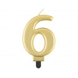 God Lumanari Tort Number 6, Metallic Gold, 8cm Pf-scz6
