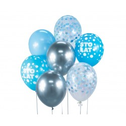 God Baloane Balloon Bouquet, Sto Lat, 30cm, Silver And Blue, 7/set Bb-sns7
