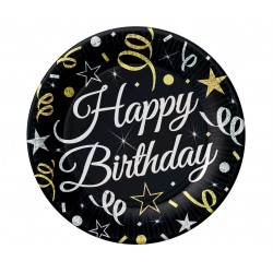 God Farfurii Din Carton B&c Happy Birthday 23cm 6/set Tp-hbd9