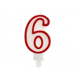 God Lumanari Tort Number 6, Red Outline, 7cm Pf-scc/6