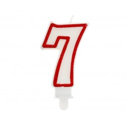 God Lumanari Tort Number 7, Red Outline, 7cm Pf-scc/7