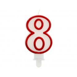God Lumanri Tort Number 8, Red Outline, 7cm Pf-scc/8