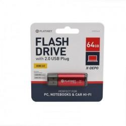 TEC FLASH USB 2.0 PLATINET 64GB RED PMFE64R/43612