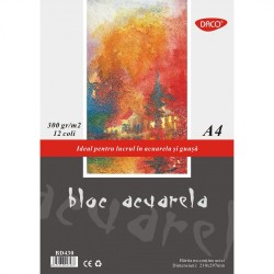 ADA BLOC DESEN ACUARELA A4 12 COLI DACO 300GR/M2 BD430