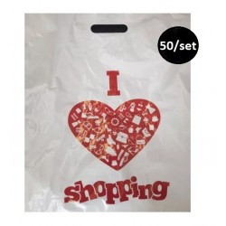EXO SACOSA MAIEU PRS I LOVE SHOPPING 40*60*0.05CM 50/SET RECICLABILA