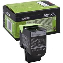TONER LEXMARK 80C2SK0 BK 802SK NEGRU ORIGINAL