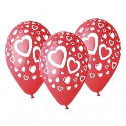 God Baloane Latex Gemar Hearts 30cm Rosii 5/set Gs110/p086