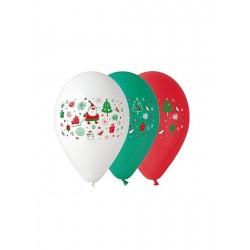 God Baloane Premium Balloons, 30cm, Santa Claus, Red Green And White 5/set Gb/pg24