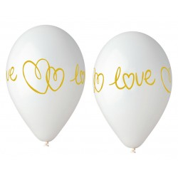 God Baloane Latex Gemar Love White 33cm 5/set Gs120/lv