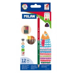 Ada Creioane Colorate 12/set Bicolor Milan 7112312