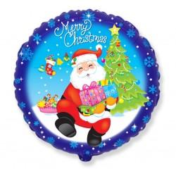 God Balon Folie Aluminiu Merry Christmas - St. Nicholas Z Gift, Circle 46cm, 401529
